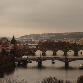 Unique panoramic view of the bridges of Prague.