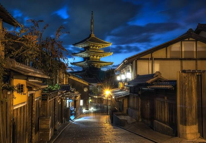 Kyoto Hokanji Temple at Night by aaronchoiphoto - The Magic Of Japan Photo Contest