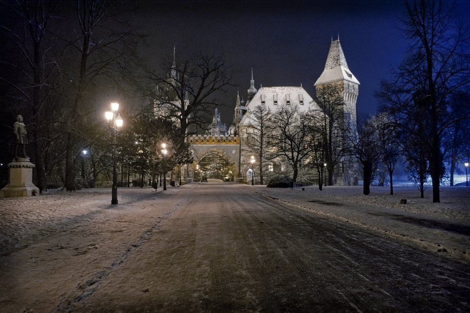 Winter night photo Hunedoara Castle in City Park