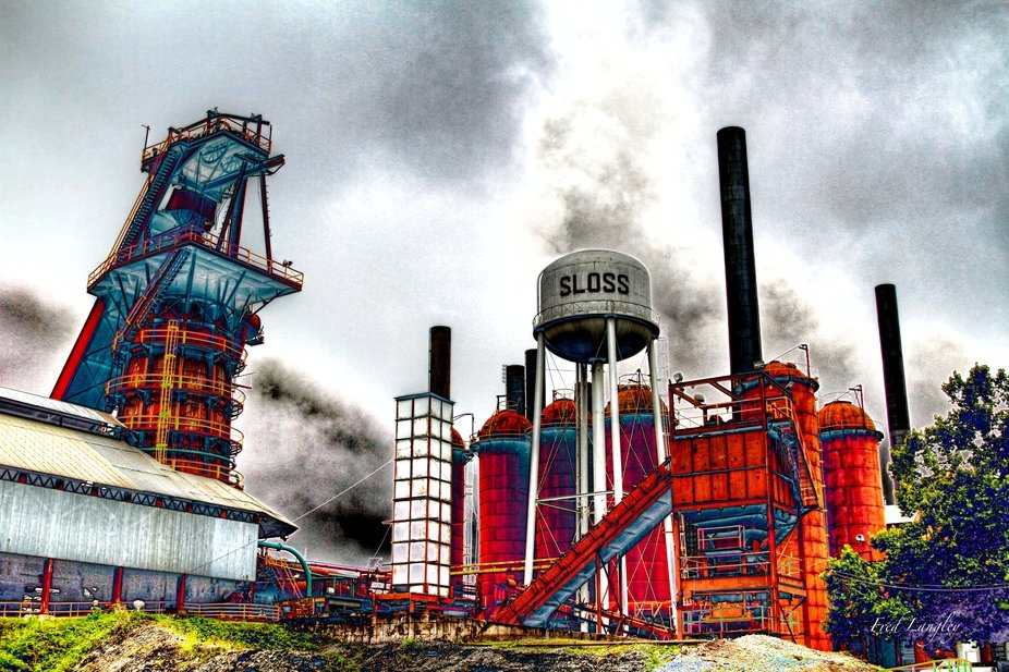 Former pig iron factory in Birmingham, Alabama preserved as a National Park. Stylized in Photoshop.