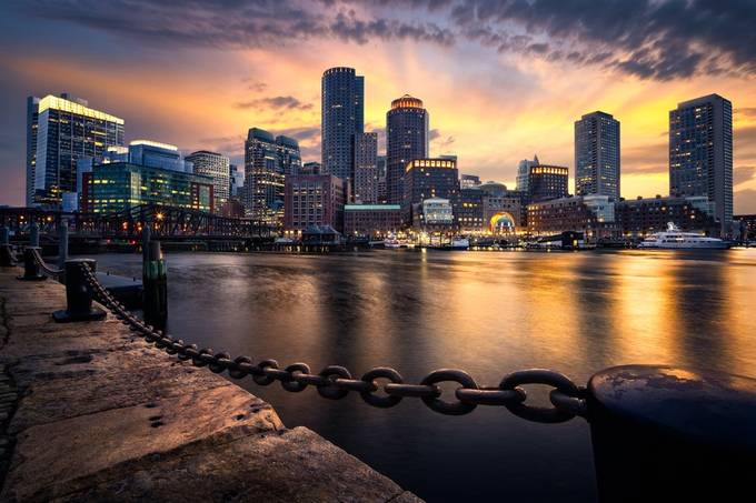 Boston Skyline by FredGramoso - Bright City Lights Photo Contest