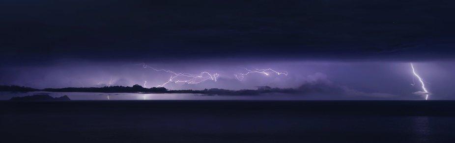 """Lightning storm over the """"Desertas"""" island, Madeira- Portugal."""