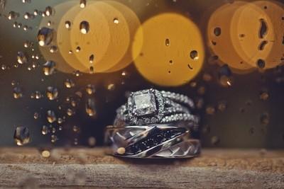 Wedding rings in the rain