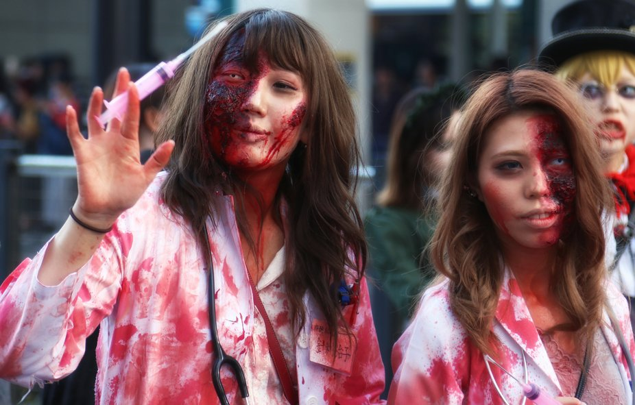I shot these severely wounded girls at the Kawasaki annual halloween parade in Tokyo this year in...
