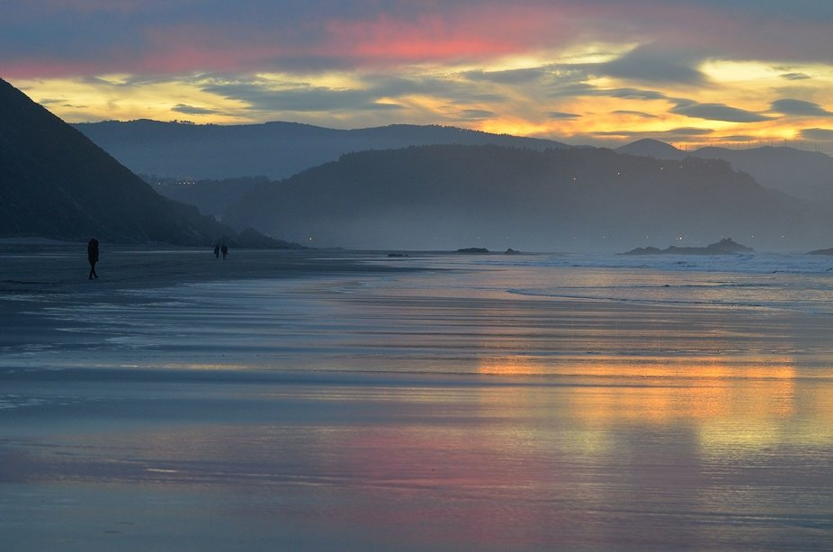 Sunset at Bayas beach, Asturias (Spain)
