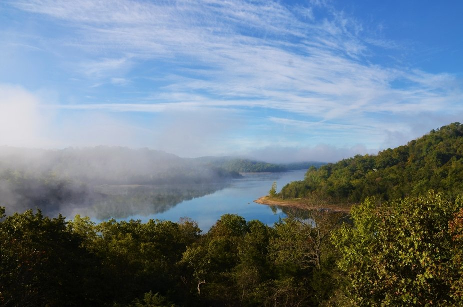 Fog on Beaver Lake in Eureka Springs, Arkansas.