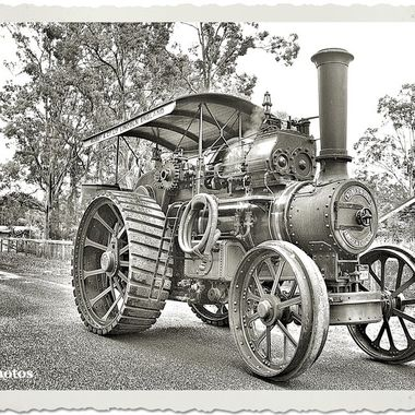 During the previous century, the Robey Steam Traction Engine was, at the time, the latest technology...  Presented in the photo technology style of the time.