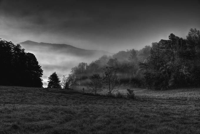 Taken with a Nikon D750 in Cade's Cove in the Great Smoky Mountains National Park just after sunrise.