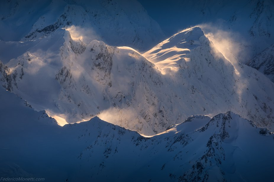 My personal favourite from the sunrise flight in Mt Cook National Park this August, detail of a c...