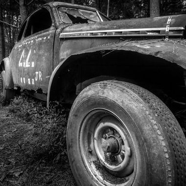 Old race car that's on an even older race track in the middle of the woods in Hillsborough North Carolina