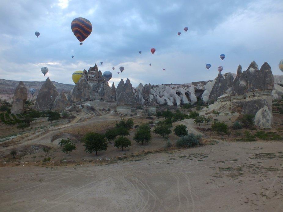 Cappodocia Turkey. Balloons at dawn.