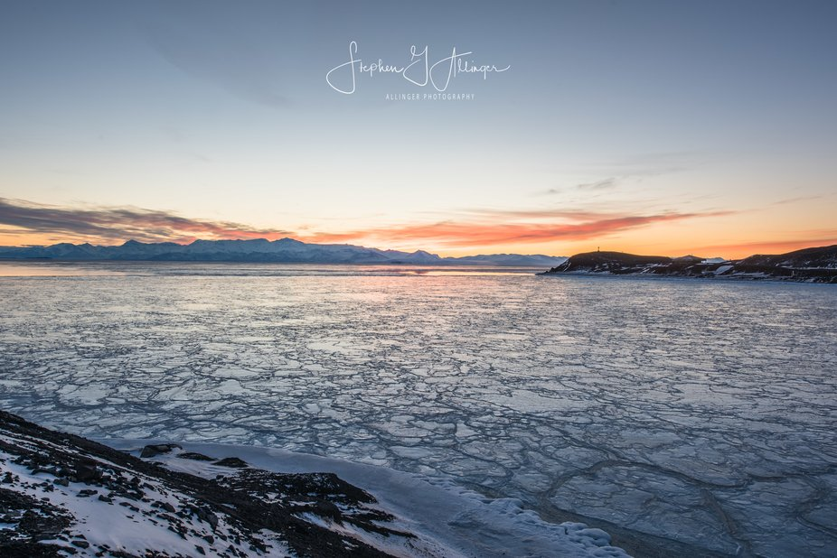 Picture is taken looking out over McMurdo sound in the Ross sea. Shot it early April, the sun at ...
