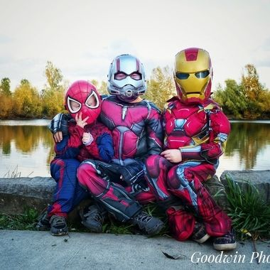 My boys dressed up in Avengers character costumes at the pond behind our apartment. November 2018