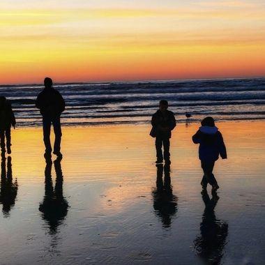 Silhouettes of my boys at Seaside Beach. November 2018