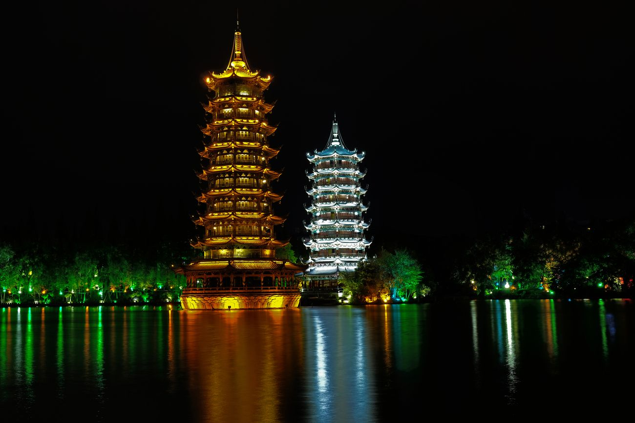 Reflections of the moon and sun pagoda in Guilin
