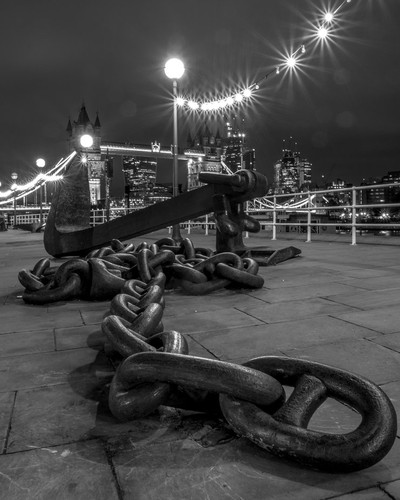 Tower Bridge with anchor in bw