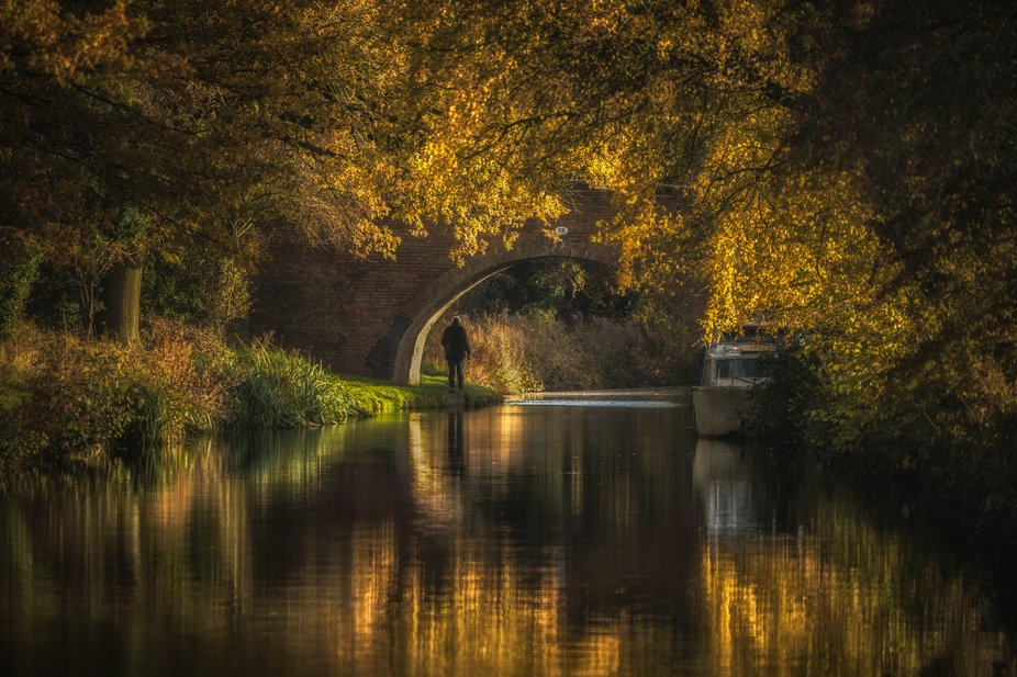 Early morning on the Birmingham & Worcester canal in Tardebigge, UK