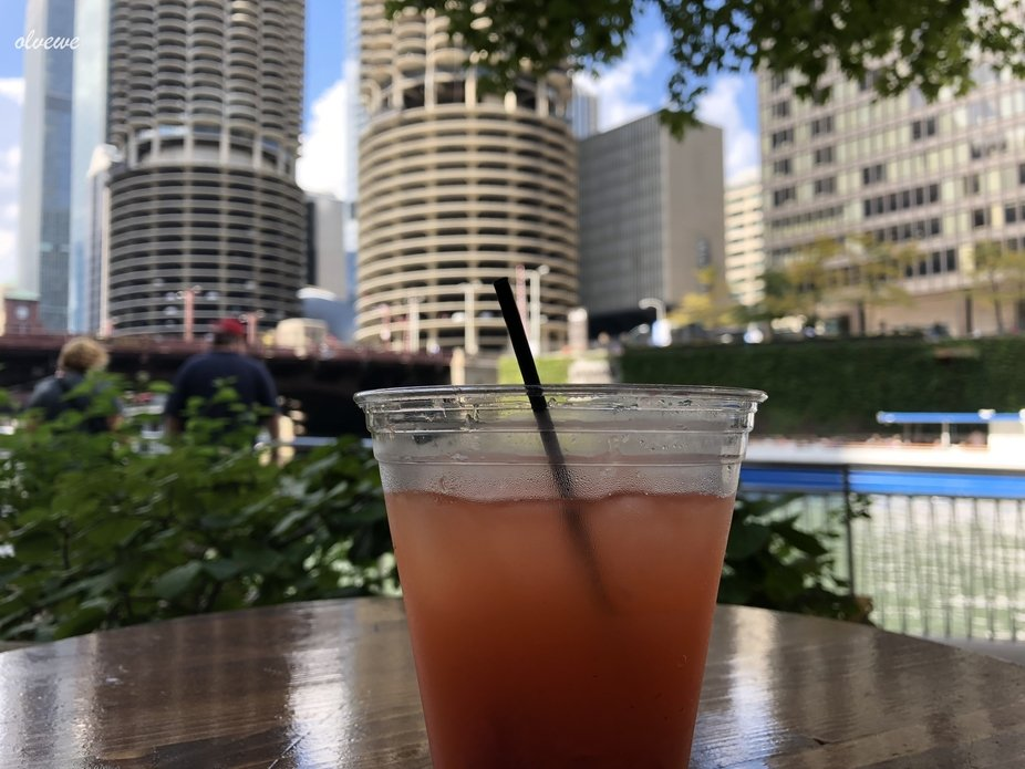 Stopped for a drink while on Chicagos riverwalk.  With the iconic towers (from so many movies) in...