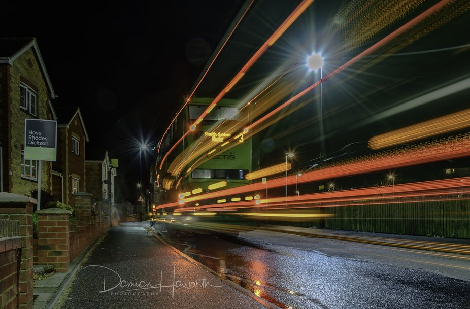 This Southern Vectis bus light trails shot, reminded me of the knight bus in the Harry Potter fil...