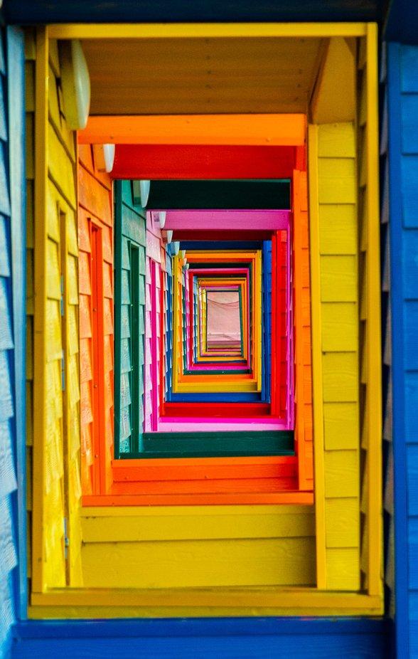saltburn beach huts  by R_A_Jackson - Colors Of The Rainbow Photo Contest