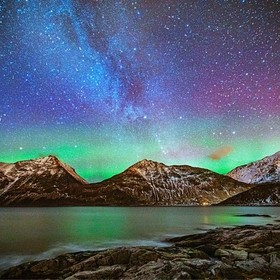 northen lights on a starry night in the lofoten island, norway