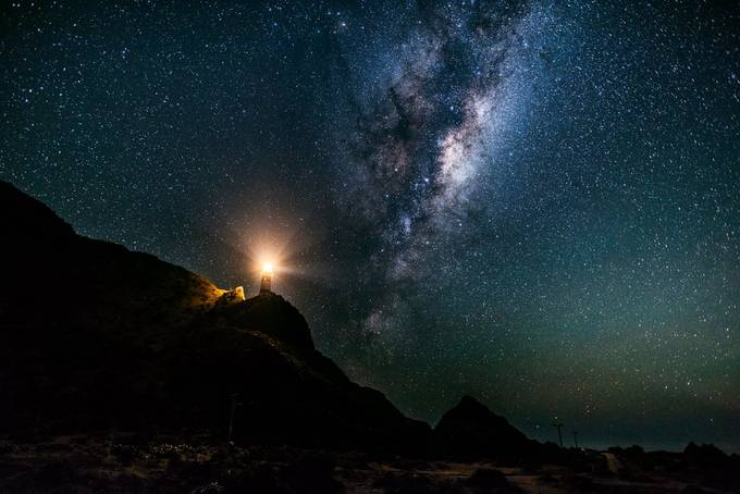 Cape Palliser Lighthouse with galaxy by Graemski - Capture The Milky Way Photo Contest