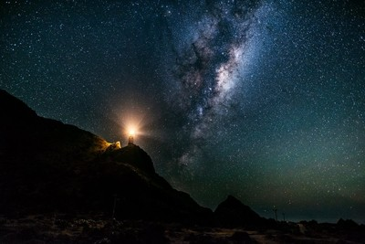 Cape Palliser Lighthouse with galaxy