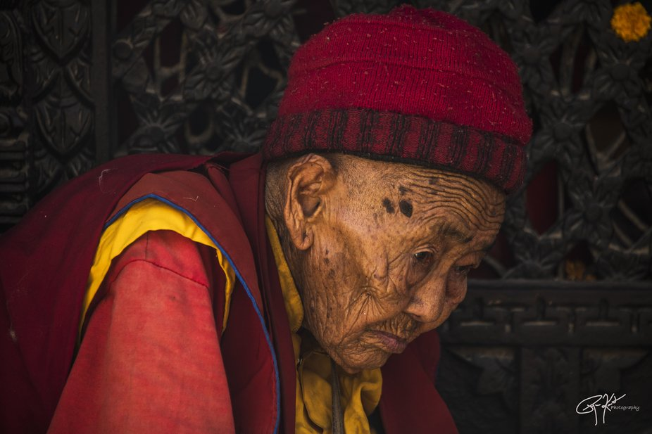 Oh...the stories a face can tell. Baudranath stupa in Kathmandu.