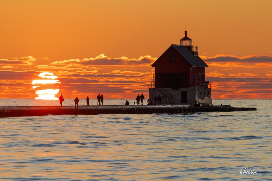 Fall sunset in Grand Haven, Michigan.