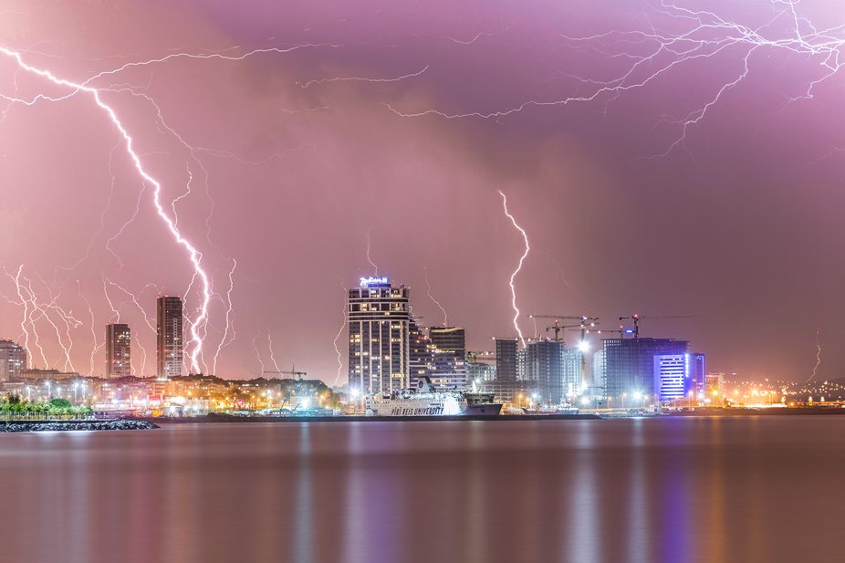 20 Stacked photos from a thunderstorm