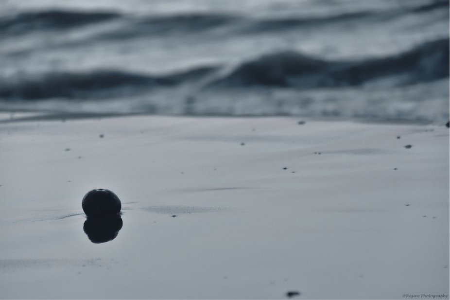 There was an smal stone against the roaring of the sea. Not afraid, just stood still.