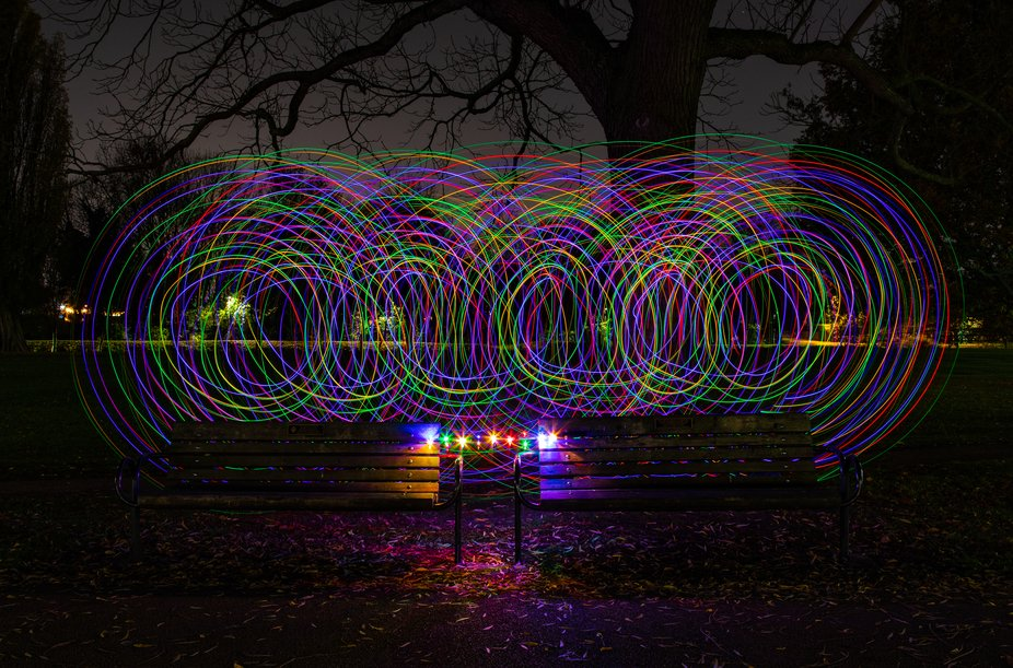 A bit of fun with some cheap battery powered fairy lights in Mill Meadows, Bedford, this evening!