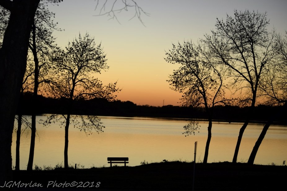 Watching the sun setting from local lake