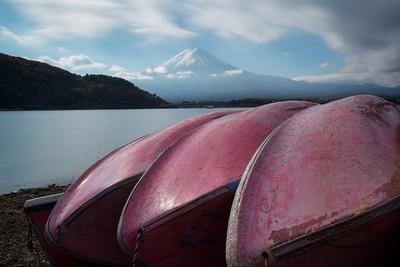 Pink boats and mount Fuji