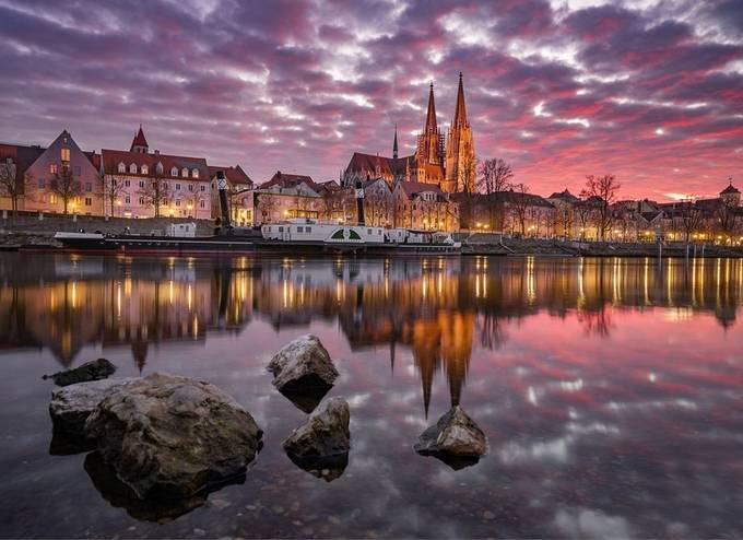 Sunset in bavaria's beautiful city Regensburg by thomasbld - Bright City Lights Photo Contest