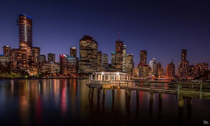 Pier on Brisbane River at Dusk by miommi - Bright City Lights Photo Contest