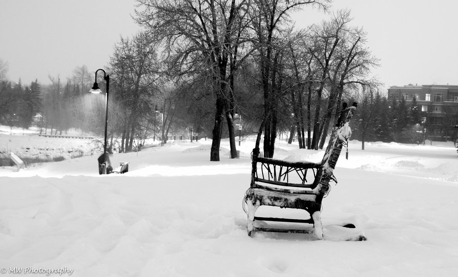 A walk around downtown Calgary and there in the snow was this old rocking chair! What stories it ...