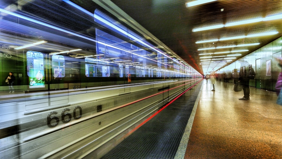 An approaching metro to the Népliget Station, Budapest, Hungary I wanted to take this shot for a...