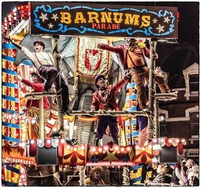 Plenty of Jazz Hands on the Barnum's Parade float