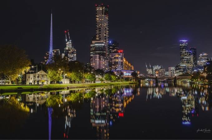 Melbourne CBD by ankitsinhaimages - Bright City Lights Photo Contest
