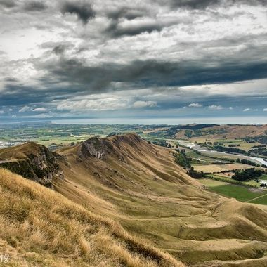 From Te Mata peak down the river with Napier in the distance.