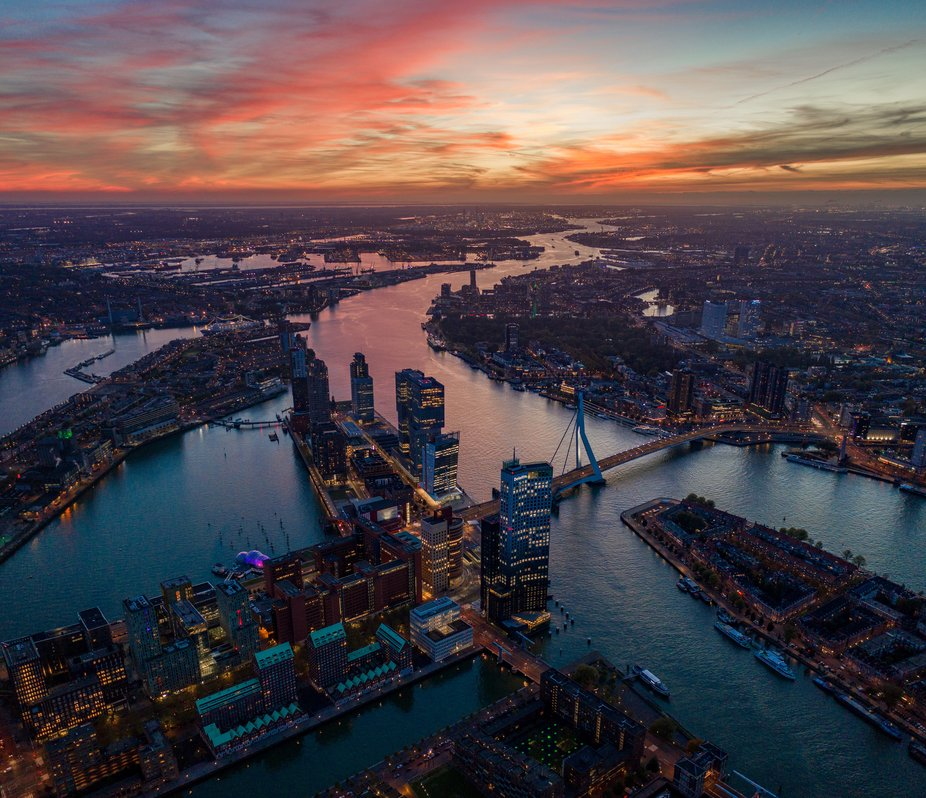 Rotterdam at sunset