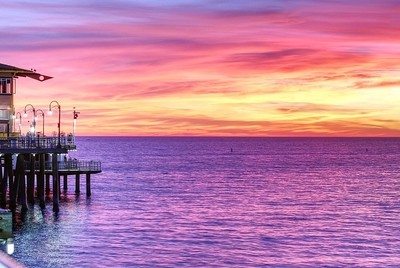 View of the Pacific Ocean at Sunset from Santa Monica Pier, California