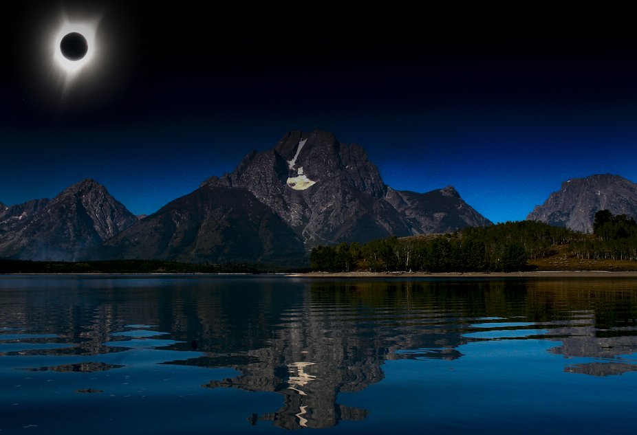 Total solar eclipse, August 2017.  Jackson Lake, Grand Teton National Park