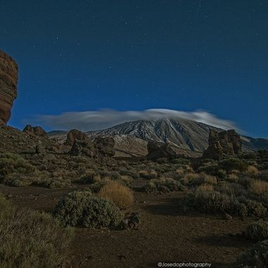 Pic taken on November 22 with full moon over the Teide national park, Tenerife, Spain.