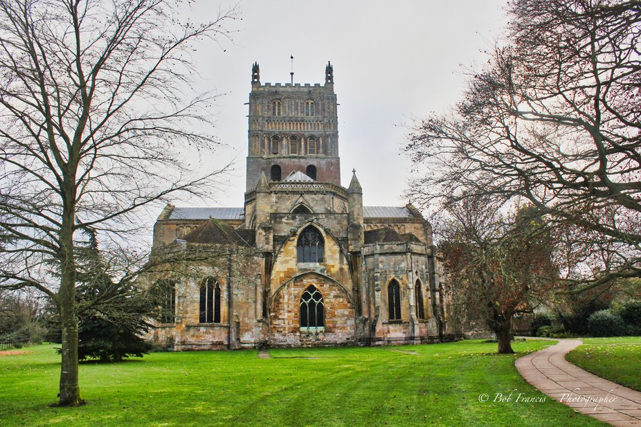 General photos of Tewkesbury Abbey and town,