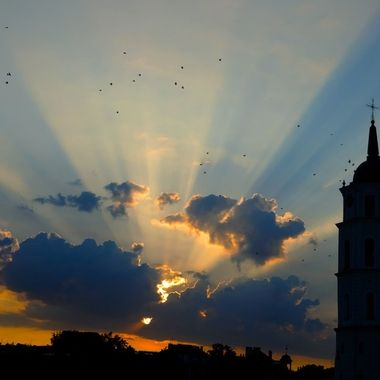Sunset in the city of Vilnius (Lithuania) in a summer day.