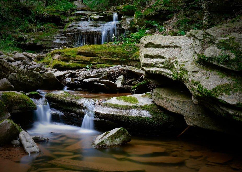 A hidden waterfall off a dirt road...