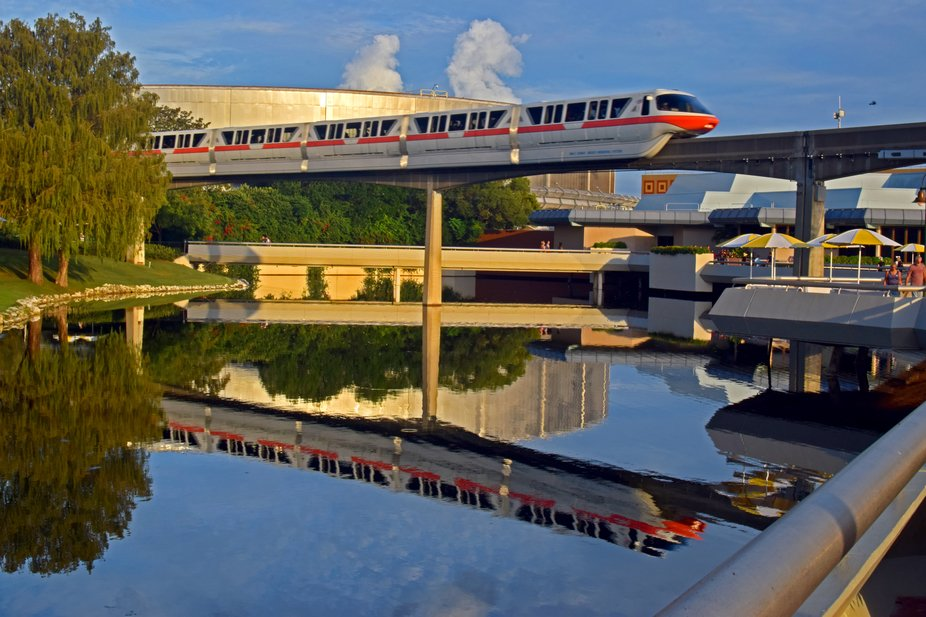 Epcot Monorail with reflections in lake . Taken at EPCOT Florida.