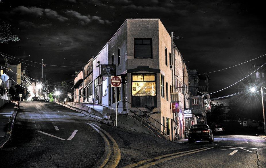 A shot of Jerome, AZ. at night time.
